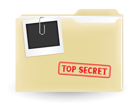 The secret files, closed yellow folder with stamp and photo on the white background Stock Vector - 26040818