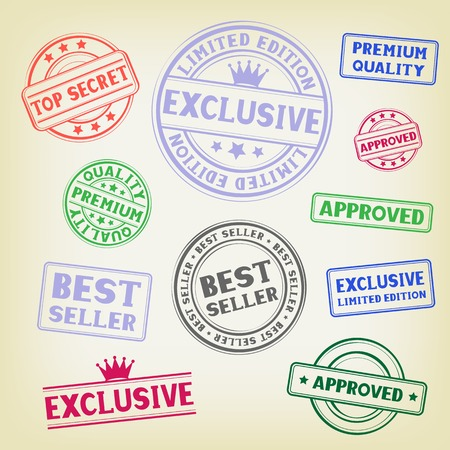 The different colored stamp isolated on white background Stock Vector - 26040819