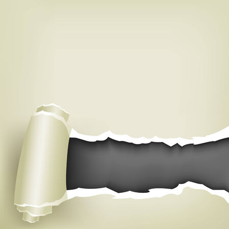 The torn white paper, roll and black background inside Vector