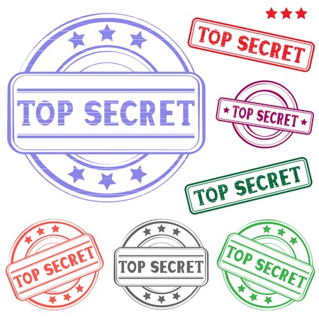 The different top secret colored stamp isolated on white background Stock Vector - 26040827