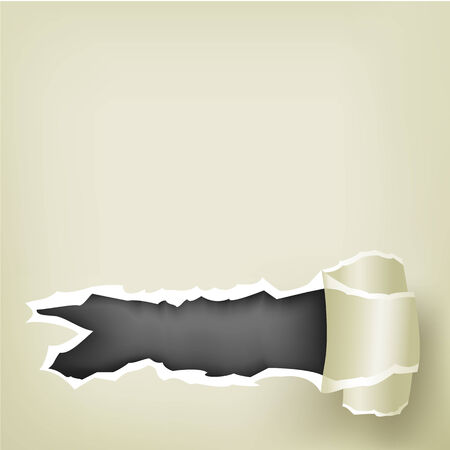 The piece of torn paper, roll and black background inside Vector