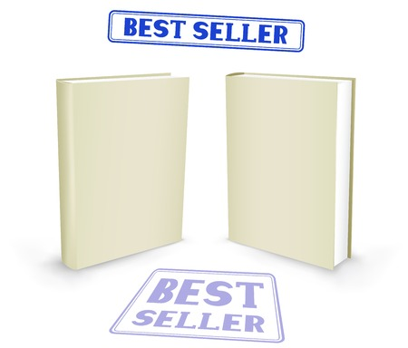 hardback: The white book with bestseller stamp on the white background