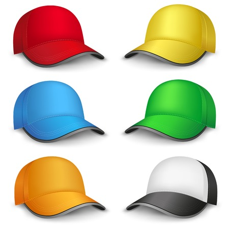 The multicolored mesh empty template cap on the white background Vector