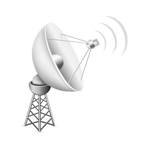 data transmission: The mesh satellite antenna with construction and signal waves on the white background Illustration