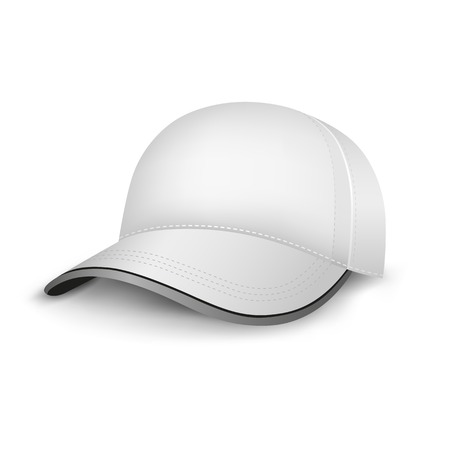 baseball hat: The white mesh empty template cap on the white background Illustration