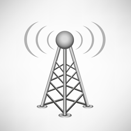 transmitter: broadcasting antenna with construction and signal waves around on the white mesh background