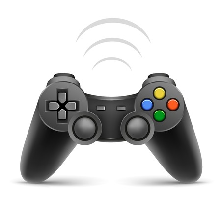 The gamer black joypad with wireless signal on the white background