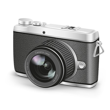 detailed view: The amateur photographer camera on the white background