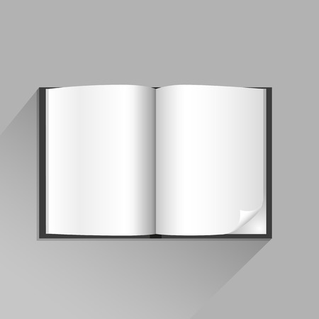 jotter: The open book with top view shadow on the gray background