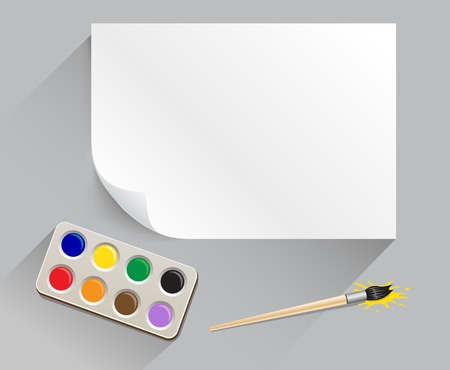 The artist set with paintbrush, paintbox, white template paper and top view shadow on the gray background Illustration