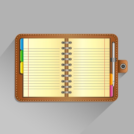 jotter: The open organizer with pen and top view shadow on the gray background