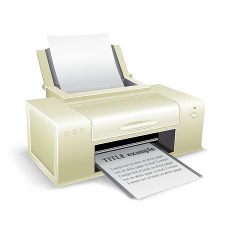 'rig out': white printer Illustration