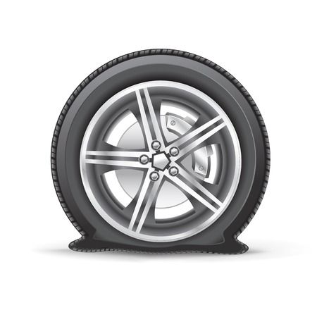 breaking wheel: flat tire Illustration