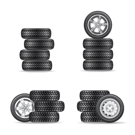 set of tires for cars Vectores