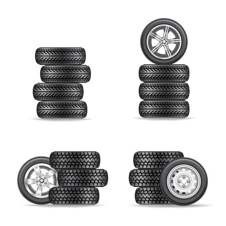 set of tires for cars Stock Illustratie