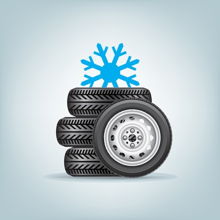 snow tire: set of winter wheels Illustration