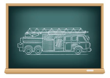 board fire truck Illustration