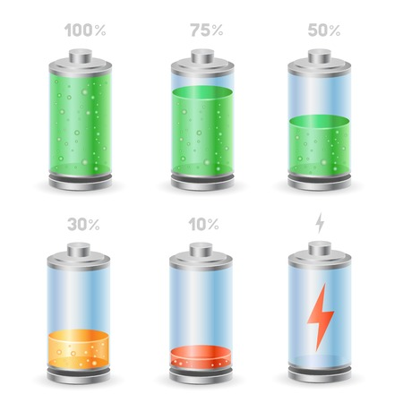 The battery icon set on the white background Illustration