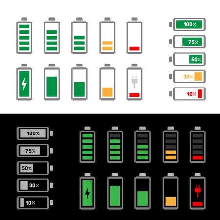 The simle battery icon set isolated on the white and black background