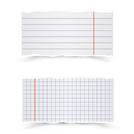 notebook paper background: The pieces in the strip and in the cage of school notebooks on a gray background Illustration
