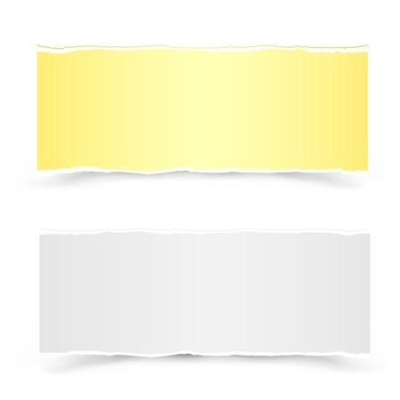 The yellow and white torn pieces of paper on the white background