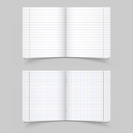 notebook paper background: The two open school notebooks in the strip and in the cage on the gray background