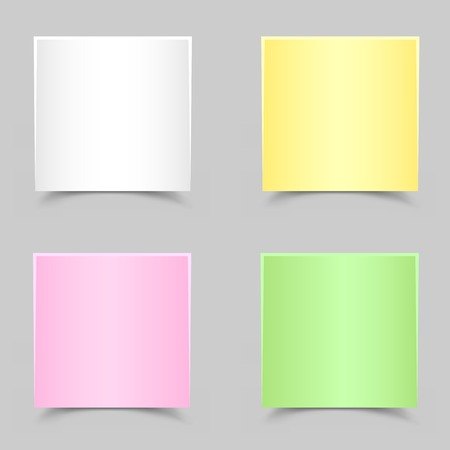 chit: The white green yellow and pink papers with shadow on the gray background