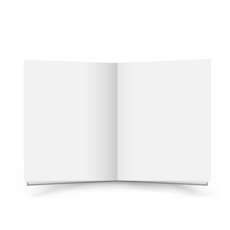 The open blank book with shadow on the white background Illustration