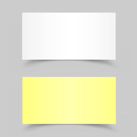 message card: The white and yellow pieces of paper on the gray background Illustration