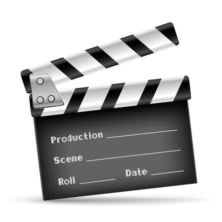film role: The retro clapper board on the white background