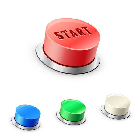 The 3D mega round red, blue, green and white buttons on the white background Vector