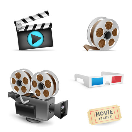 The cinema set collection on the white background Vector