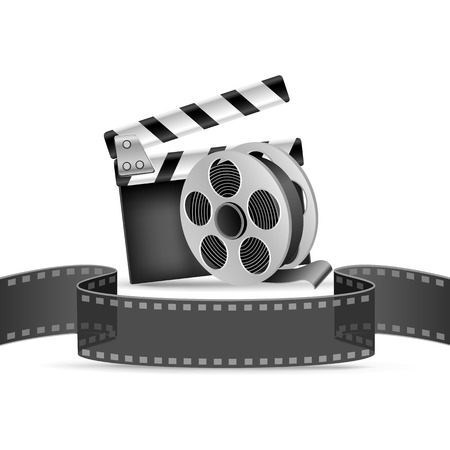The clapperboard, film tape and reel on the white background Illustration