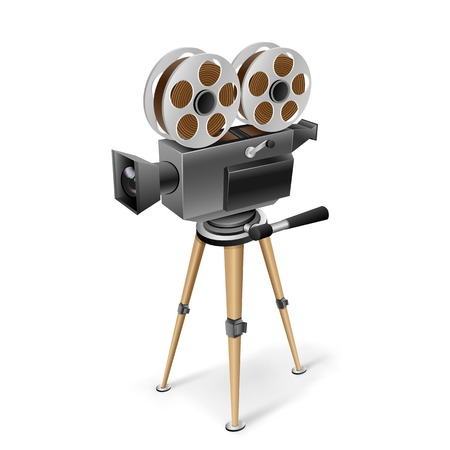 The retro cinema camera on a tripod on the white background