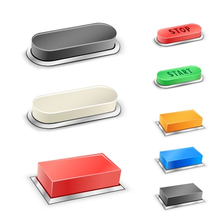 The 3D mega rectangular and oval red, blue, green, black and white buttons on the white background Vector