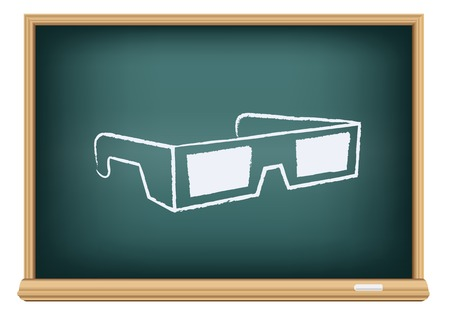 The cinema 3D glasses drawn on the blackboard on the white background