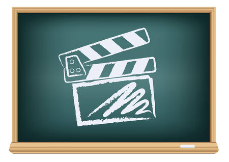 film role: The cinema clapperboard drawn on the blackboard on the white background
