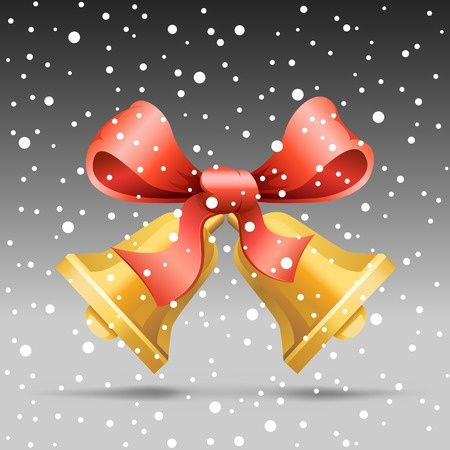 The Christmas bell and snow on the gray background Vector