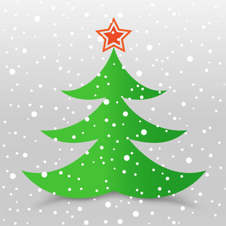 The Christmas tree with star and snow gray background Illustration