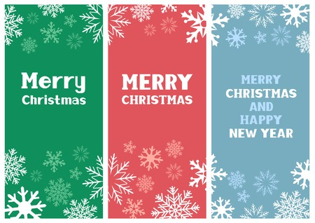 The multicolored Christmas paper cards with falling snow Vector