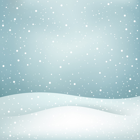 snow fall: The winter snowfall, blue daytime sky and snowdrift Christmas background