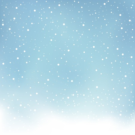 The winter snowfall and blue daytime sky Christmas background