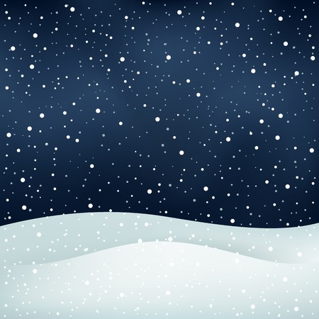 The winter snowfall, night sky and snowdrift Christmas background