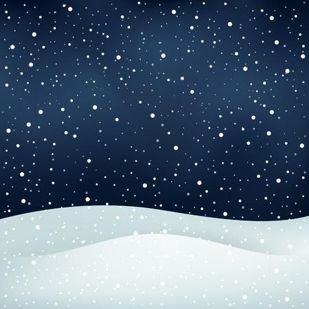 Van de winter sneeuwval, nachtelijke hemel en de sneeuwjacht Kerst achtergrond Vector Illustratie
