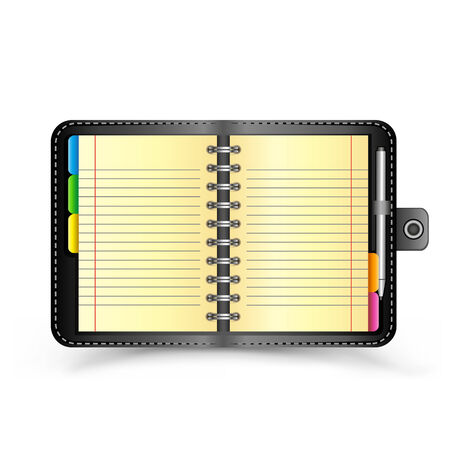 The open organizer with pen and top view shadow on the white background
