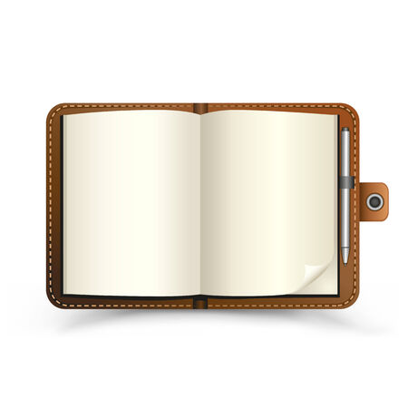 The brown open notebook with pen and top view shadow on the white background