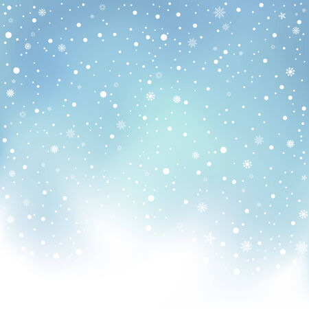 snow fall: The winter day snowfall and blue mesh sky background