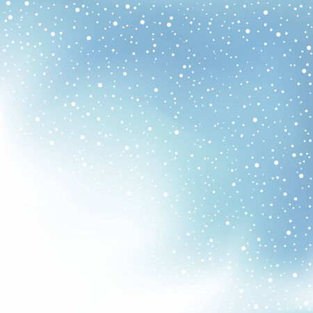 blue clouds: The winter day snowfall and blue clouds background Illustration