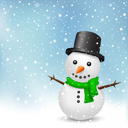 The snowman with green scarf and black hat on the snowfall background