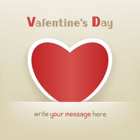 The greeting card with a red heart on Valentine Day Illustration